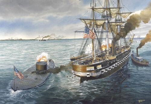 "/""Fate of a Nation/"" Tom Freeman Naval Print USS Monitor vs CSS Virginia"