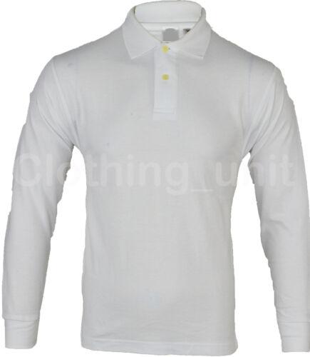 Mens Long Sleeve Plain Pique Polo Shirt Top Warm S M L XL XXL
