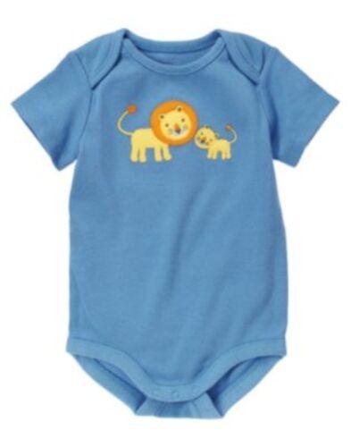 GYMBOREE BRAND NEW BABY BLUE w// 2 LIONS BODYSUIT 0 3 612 NWT