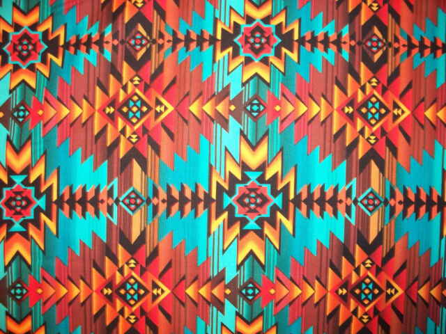 Navajo Native American Gold Teal Border Print Cotton Fabric 16 IN SCRAP CUT