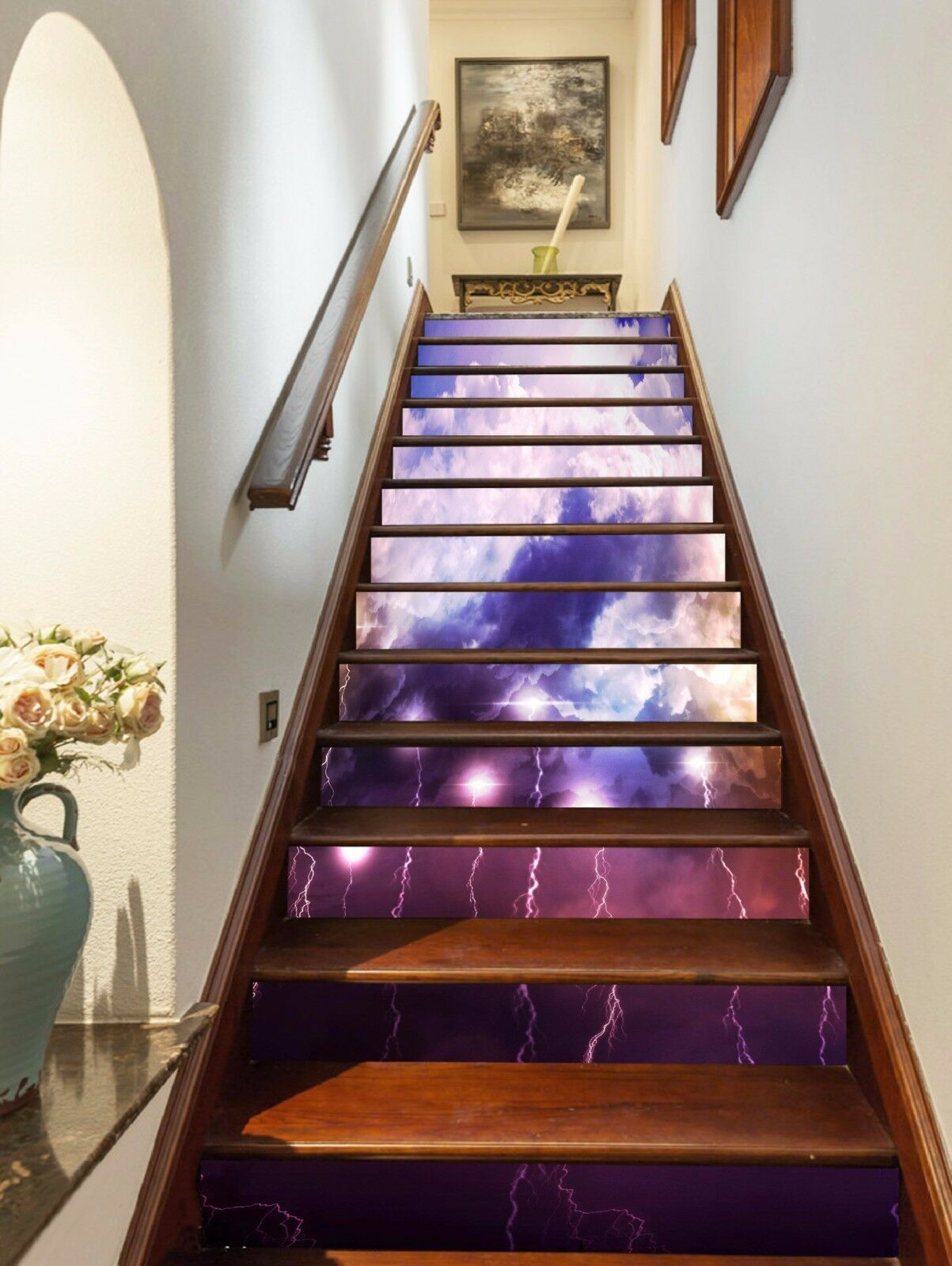 3D Farbe Lightning Stairs Risers Decoration Photo Mural Vinyl Decal WandPapier US