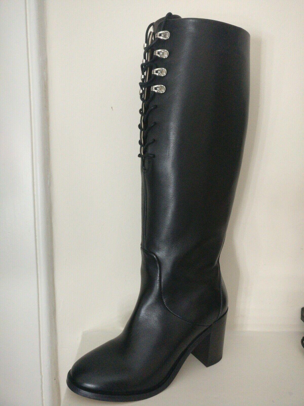 Diesel UK 6 D-Arlin Hook Knee High Boots Boots Boots EU 39 USA 8.5 Leather Block Heel Laces 3766e0