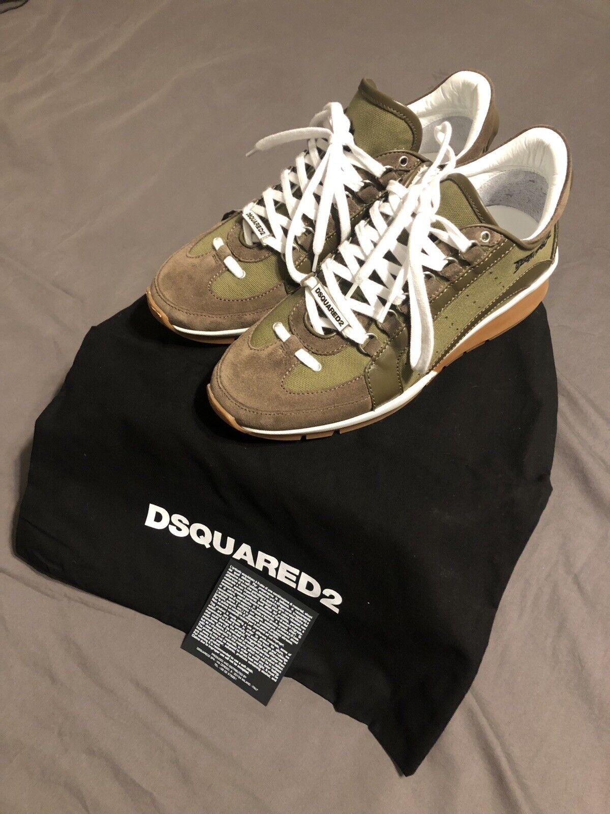 Authentic DSquarosso2 551 scarpe da ginnastica Dimensione 41 EUR Army verde And Marronee Suede NIB