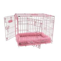 Pet Crate Dog Cat Cage House Sitter Double Door Pink Small Animal Free Ship