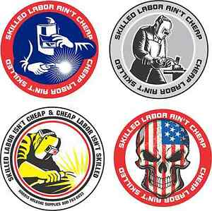 Image is loading Lot-of-4-Hard-Hat-Stickers-Helmet-Hood-
