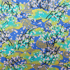 Japanese Fabric 100% Cotton Sakura Tree Blue Gold Remnant 45x110cm PC917