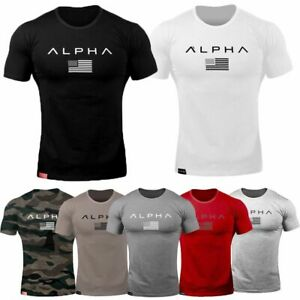 ALPHA-Men-Gym-T-Shirt-Muscle-Sport-Fitness-Tee-Workout-Top-Athletic-Short-Sleeve