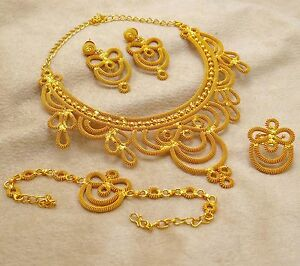 Image Is Loading Gold Plated Wedding Bridal Jewelry Indian Traditional 4pcs