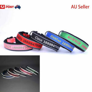 2021 Personalised Dog Collar custom name / number ID Night Reflective AU Seller