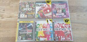LOT-6-JEUX-PS3-de-Blob-2-DJ-HERO-PES-20009-SING-IT-X-2-LET-039-S-DANCE