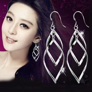 Mujer-pendientes-de-aro-925-Plateado-Aretes-Largos-Colgante-Ear-Stud-Earrings
