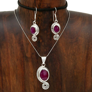Silver-Spiral-Sugilite-Pendant-and-Earring-Set-Taxco-Mexico