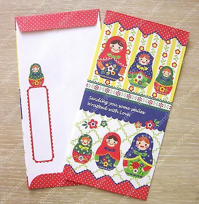 Made in japan colorful russian doll matryoshka paper envelope 24pc w sticker