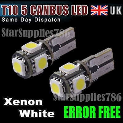 2x XENON WHITE CANBUS LED BULBS 8 SMD 501 T10 5W ERROR FREE CAR LED SIDELIGHTS