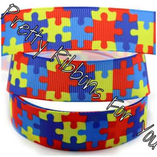 """Autism Awareness 6mm...1//4/"""" wide grosgrain ribbon the listing is for 10 yards"""