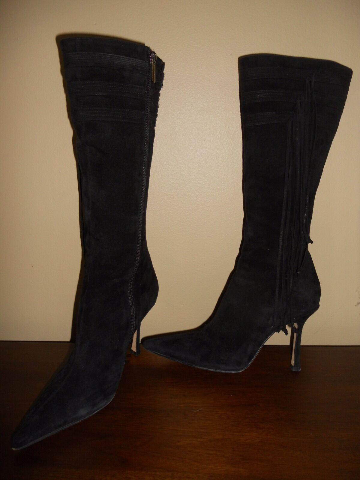 Jimmy Choo Black Knee High High High Suede Fringe Boots Size 36 ee33d2