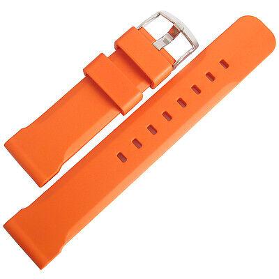 22mm Bonetto Cinturini Model 317 Orange Italian Rubber Dive Watch Band Strap
