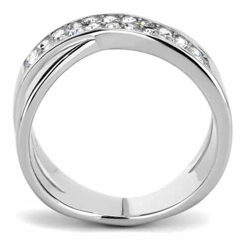 Top Grade Crystal Two Rows Set in X Shape Stainless Steel Band
