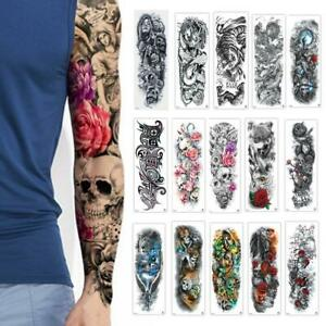 Details About Full Flower Tattoo Arm Sticker 20 Peacock Pattern Lotus Body Painttemporary