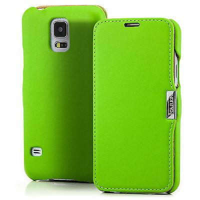 Schutz Hülle für Samsung Galaxy S5 G900 Echt Leder Tasche Etui Bumper Case Grün