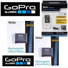 2X Battery for GoPro HERO5 BLACK AABAT-001 + RAPID CHARGER 110-220V + CAR PLUG