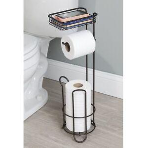 Standing Toilet Paper Tissue Roll Holder Stand Bathroom Organizer Rack Black Ebay
