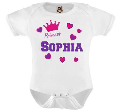 Personalizado Bebé Chaleco Bodysuit llamado PRINCESA crown bebé bebé ducha regalo chaleco