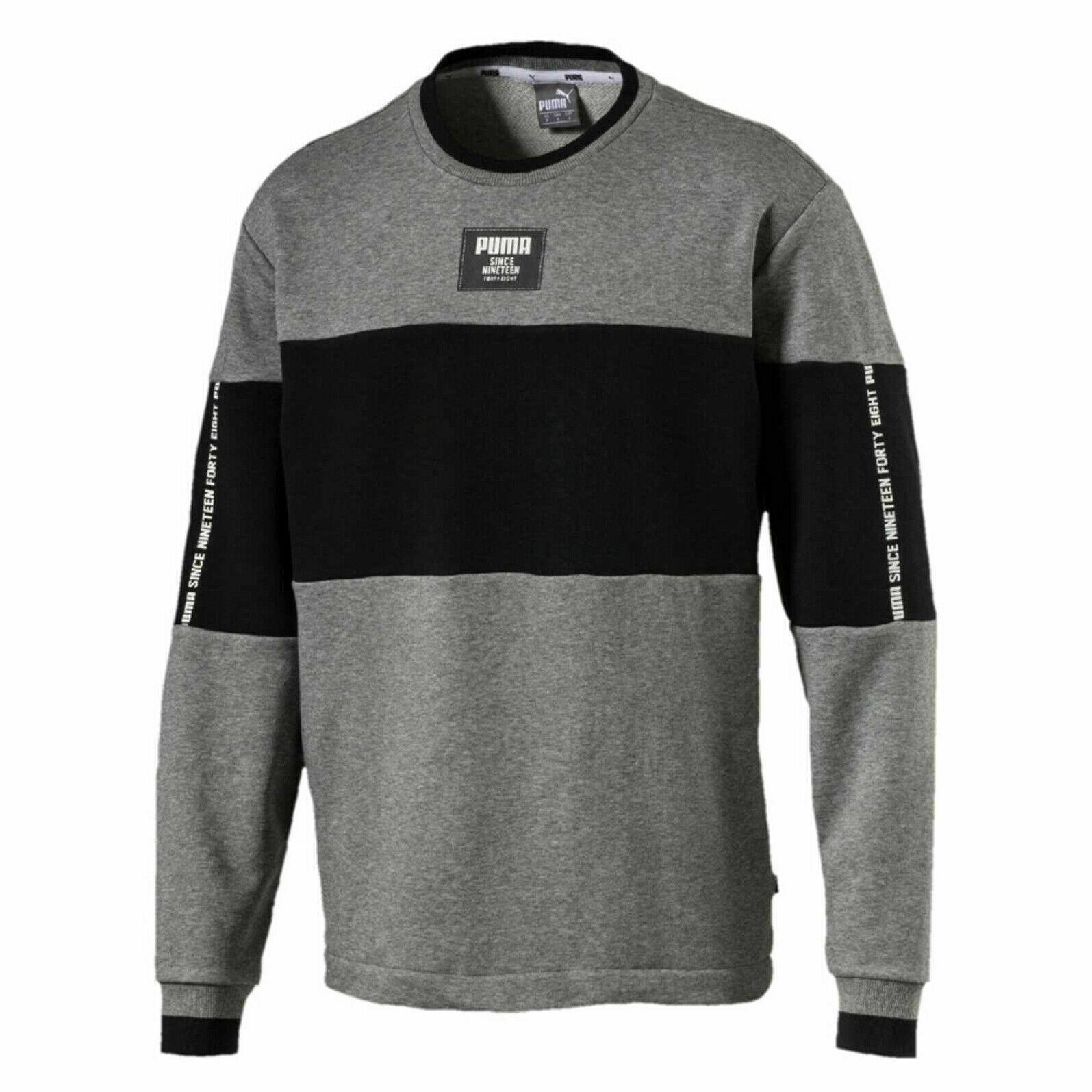 Puma Mens Rebel Block Crew Sweatshirt Grey Jumper 853266 03