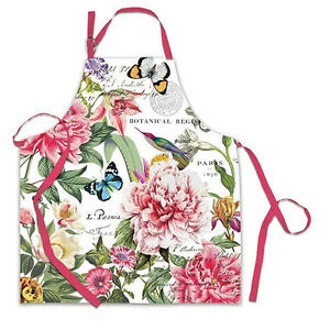 Michel Design Works Cotton Chef's Apron Peony Floral Bird Butterflies - NEW