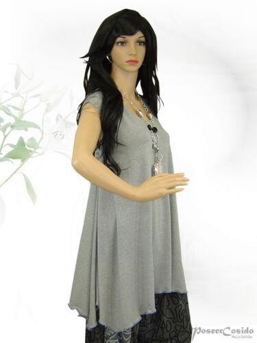 PoCo DeSiGn° LAGENLOOK Top Long Shirt Jersey Tunika 42-58 L-XL-XXL-XXXL hellgrau