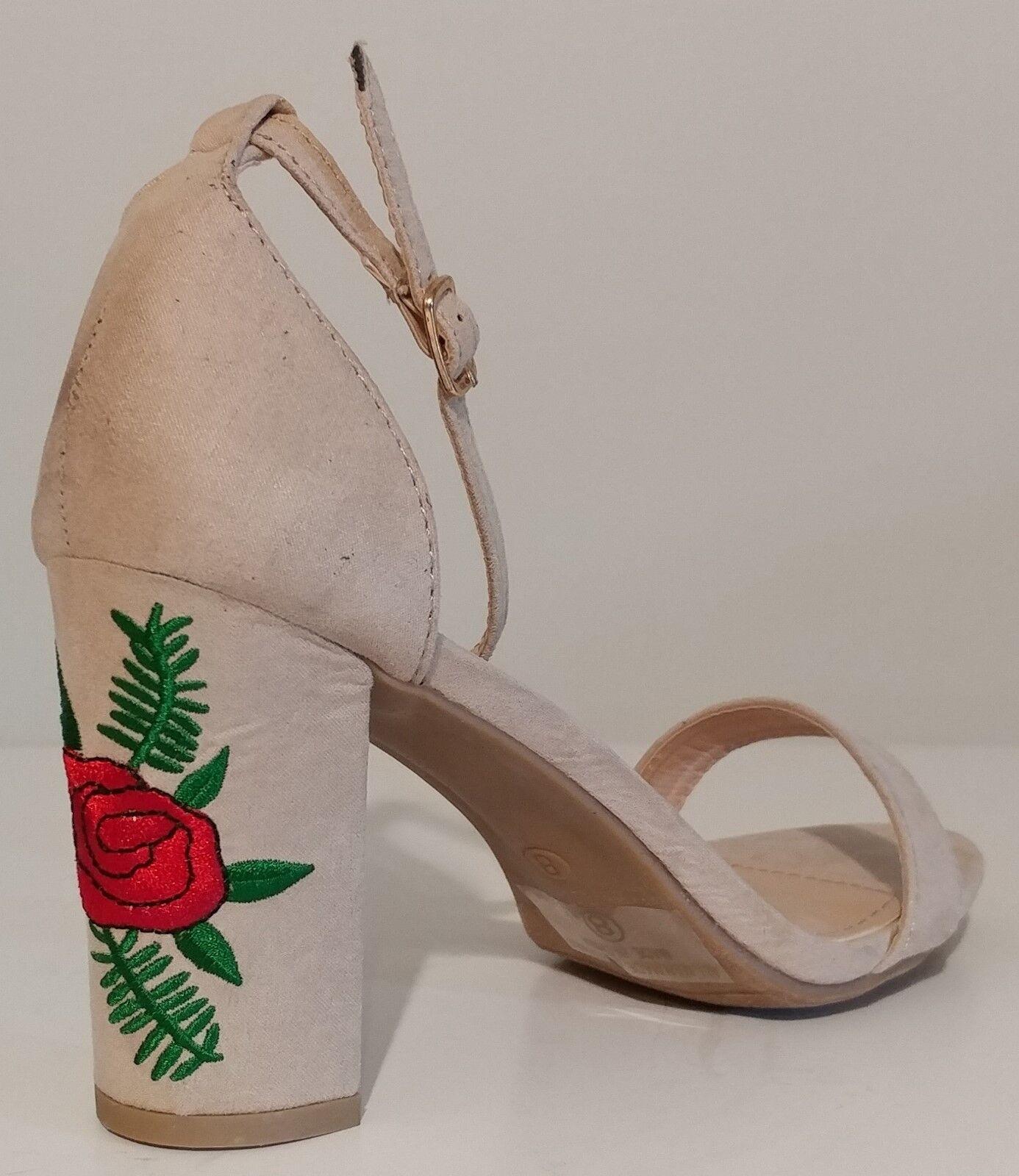 NEW NEW NEW Top Moda Beige EMbroiderot Rosa Sandals 3.5  Heels Größe 8M US 38M EUR ed6605
