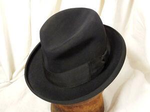 Vintage Stetson Royal De Luxe Homburg Fedora Hat Grosgrain Ribbon ... 9862c06f24a