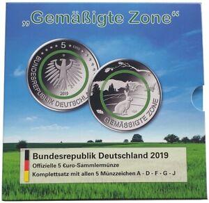 BRD-5-x-5-Euro-Gemaessigte-Zone-2019-ADFGJ-Stempelglanz-im-Blister