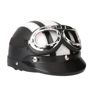 Casco-de-Moto-Scooter-Vintage-Retro-Cuero-Ajustable-con-Visera-Gafas-y-Bufanda