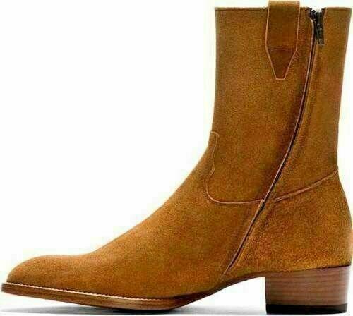 hombres Fait main Daim véritable à fermeture éclair Cheville botas d'ascenseur