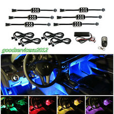 6 Pcs Waterproof 7-Color LED Car Neon Underbody Decor Lamp Strip Wireless Remote