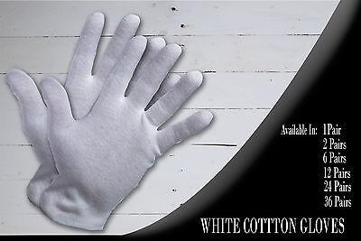 1, 2, 6, 12, 24, 36 Pair Cotton White Gloves Moisturising Lining Gloves S M L Xl