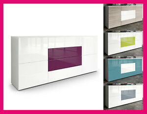 Détails sur Buffet armoire meuble blanc noir gris mauve vert rose chêne  chambre salon design