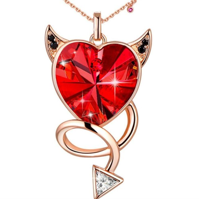 Red Evil Crystals Heart Pendant Necklace Birthday and Anniversary Gifts for Her