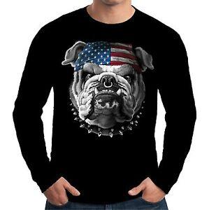Velocitee Mens Long Sleeve T Shirt American Bulldog USA Dog Bobber Biker A19408