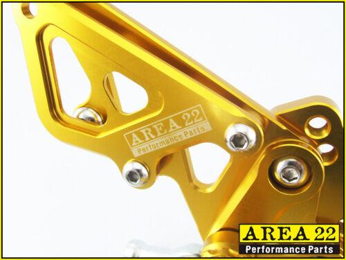 2013-2016 Kawasaki Ninja 300R Area 22 CNC Adjustable Rear Sets Gold Rearsets