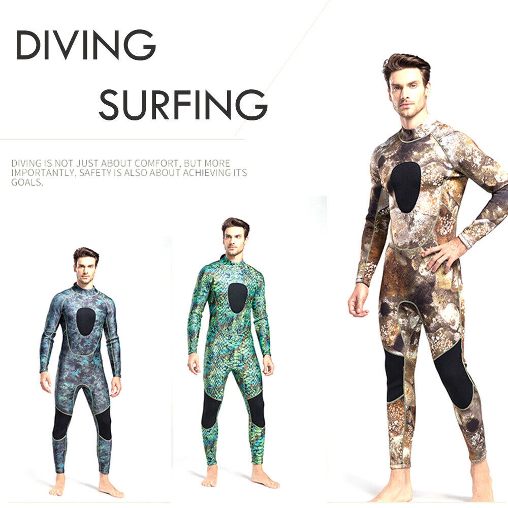 Camouflage Men's Long  Piece Conjoined Diving Cold Warm Suit  Elastic Neoprene FZ  new exclusive high-end