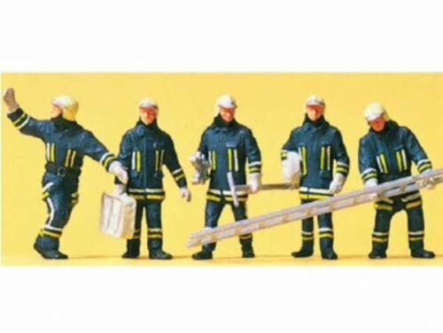 Preiser 10484 Feuerwehr in moderner Einsatzkleidung Feuerwehrmänner 5 Fig H0 Neu