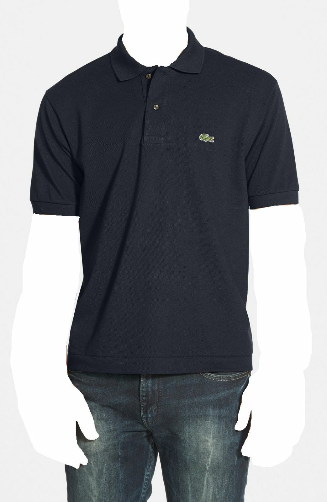 LACOSTE Men's CLASSIC FIT blueE SHORT SLEEVE POLO BUTTON CROC LOGO SHIRT 4 M