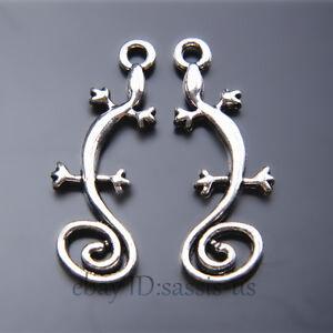 40pcs-29mm-Charms-Lizard-Chameleon-Pendant-Tibet-Silver-DIY-Jewelry-Charm-A7429