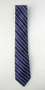 Tommy-Hilfiger-TIE-100-SILK-Purple-Navy-amp-White-Stripe-Used-Perfect-Con