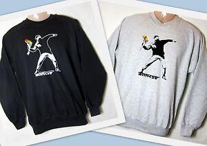 Sweatshirt-Banksy-Flowerthrower-Blumenwerfer-S-XXL