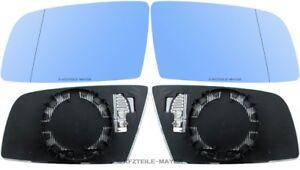 Spiegelglas-Aussenspiegel-fuer-BMW-5er-E60-E61-6er-blau-beheizt-links-rechts-Set
