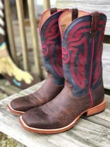 d0b5de6041fc8 Details about Twisted X Men's Dark Brown/Blue/Red Wide Square Toe Hooey  Cowboy Boots MHY0020