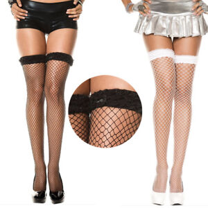 7a2704d079ce8 Ruffled Layered Top Band Wide Diamond Net Fishnet Thigh Hi Stocking ...